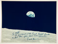 "Autographs:Celebrities, Apollo 8 ""Earthrise"" Photo Signed and Inscribed by MissionCommander Frank Borman to Lead Flight Director CliffordCharleswort..."