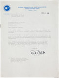 Transportation:Space Exploration, Roger Chaffee's Original Astronaut Acceptance Letter from hisPersonal Collection. ...