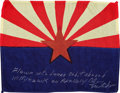 Transportation:Space Exploration, Apollo 14 Flown State Flag of Arizona Directly from the PersonalCollection of Mission Lunar Module Pilot Edgar Mitchell, Sign...