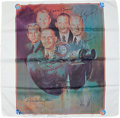 Autographs:Celebrities, Apollo-Soyuz Test Project Crew Portrait Scarf Directly from thePersonal Collection of ASTP Backup Docking Module Pilot Ja...