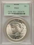 Peace Dollars: , 1934 $1 MS63 PCGS. PCGS Population (1574/2345). NGC Census: (1042/1844). Mintage: 954,057. Numismedia Wsl. Price for proble...