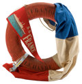 Decorative Arts, British:Other , S.S. FRANCE LIFE RING, FLAG AND SOUVENIR PENNANT . 27 inches (68.6cm) (life ring). ...
