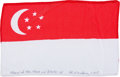 Transportation:Space Exploration, Apollo 15 Flown National Flag of Singapore Directly from the Personal Collection of Mission Command Module Pilot Al Worden, Si...
