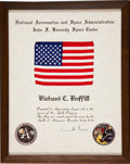 Transportation:Space Exploration, Apollo 17 Flown American Flag on Original Presentation Certificatewith Letter of Transmittal....