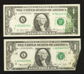 Error Notes:Foldovers, Fr. 1908-L $1 1974 Federal Reserve Note. About Uncirculated;. Fr.1910-A $1 1977A Federal Reserve Note. Very Fine.. ... (Total: 2notes)