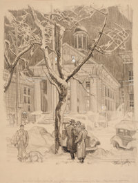DEAN CORNWELL (American, 1892-1960) Outside the Courthouse Charcoal and pencil on board 18.5 x 14