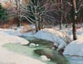Fine Art - Painting, American:Modern  (1900 1949)  , FROM THE ESTATE OF CHARLES MARTIGNETTE.. ANTON OTTO FISCHER(American, 1882-1962). Winter Stream. Oil on canvas . ...