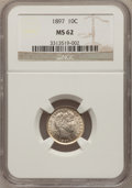 Barber Dimes: , 1897 10C MS62 NGC. NGC Census: (52/249). PCGS Population (62/248).Mintage: 10,869,264. Numismedia Wsl. Price for problem f...