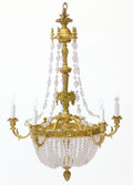 Decorative Arts, French:Lamps & Lighting, A FRENCH BELLE EPOQUE GILT BRONZE AND CRYSTAL FIVE-LIGHT CHANDELIER. Unknown maker, probably Paris, France, circa 1900. Unm...
