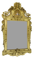 Furniture , A FRENCH NAPOLEON III CARVED GILT WOOD MIRROR . Unknown maker, probably Paris, France, circa 1865. Unmarked. 99 x 55 inches ...