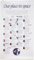 "Autographs:Celebrities, Space Shuttle: Purdue University ""Our Place in Space"" Poster Signed by Sixteen Astronaut Alumni. ..."