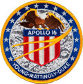 Transportation:Space Exploration, Apollo 16 Flown Embroidered Mission Insignia Patch Directly fromthe Personal Collection of Mission Commander John Young, Sign...