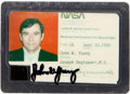 "Transportation:Space Exploration, Space Shuttle: John Young's ""Medical Certification For Spaceflight""Card Directly from His Personal Collection, Signed. ..."