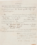 Autographs:Statesmen, [Jefferson Davis] Subpoena to Appear at Davis' Trial,...