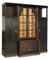 AUSTRO-HUNGARIAN SECESSIONIST OAK, INLAID BRASS AND GLASS VITRINE CABINET ATTRIBUTED TO KÀROLY KÓS (HUNGAR...
