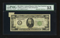Error Notes:Attached Tabs, Fr. 2055-L $20 1934A Federal Reserve Note. PMG About Uncirculated53; Fr. 2062-E $20 1950C Federal Reserve Note. PMG Choice Ex...(Total: 3 notes)