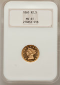 Liberty Quarter Eagles, 1860 $2 1/2 Old Reverse, Type One MS61 NGC....