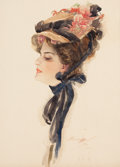 Mainstream Illustration, HARRISON FISHER (American, 1875-1934). Under the Rose, 1907.Watercolor on board. 16 x 11.5 in.. Signed and dated lower ...