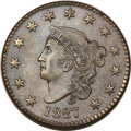 Large Cents, 1827 1C MS64+ Brown PCGS. N-7, R.3. MRB MS60+. ...