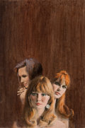 Pulp, Pulp-like, Digests, and Paperback Art, MIKE LUDLOW (American, b. 1921). Three Women. Gouache onboard. 18.5 x 12.5 in.. Signed lower right. ...