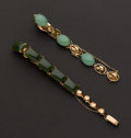 Estate Jewelry:Bracelets, Two Jade & Gold Bracelets. ... (Total: 2 Items)