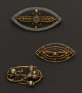 Estate Jewelry:Brooches - Pins, Multi-stone, Enamel, Gold Brooches. ... (Total: 3 Items)