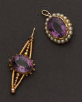 Estate Jewelry:Pendants and Lockets, Two Gold Amethyst Drops. ... (Total: 2 Items)