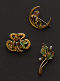 Estate Jewelry:Brooches - Pins, Three Gold & Enamel Art Nouveau Pins. ... (Total: 3 Item)