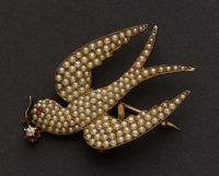 Exquisite Pearl & Gold Watch Pin/Brooch