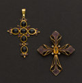Estate Jewelry:Pendants and Lockets, One Antique Enamel & Gold Cross, One Contemporary Sapphire& Ruby Cross. ... (Total: 2 Items)
