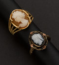 Estate Jewelry:Rings, Two Gold Cameo Rings. ... (Total: 2 Items)