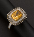 "Estate Jewelry:Rings, ""Evian"" Colored Diamond & Citrine Ring. ..."