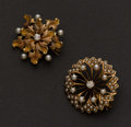 Estate Jewelry:Brooches - Pins, Two Gold, Pearl & Diamond Pins. ... (Total: 2 Items)