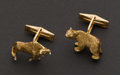 Estate Jewelry:Cufflinks, Bear & Bull Stock Brokers Gold Cufflinks. ...