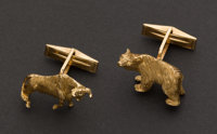 Bear & Bull Stock Brokers Gold Cufflinks