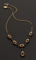 Estate Jewelry:Necklaces, Garnet Necklace With 18k Gold Settings & Chain. ...