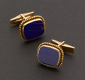 Estate Jewelry:Cufflinks, Classic 14k Gold & Lapis Lazuli Cufflinks. ...