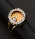 "Estate Jewelry:Rings, Gold Mexican Pesos Ring With ""Floating"" Diamond, Diamond Bezel. ..."