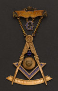 Estate Jewelry:Other , Gold & Enamel Masonic Medal & Pin. ...