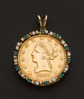 Estate Jewelry:Pendants and Lockets, Ten Dollar Gold 1849 Liberty Coin With Diamond & Emerald Bezel....