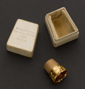 Estate Jewelry:Other , Antique Gold Thimble With Tiffany Fitted Box. ...