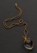 Estate Jewelry:Necklaces, Stueben Glass 18k Gold Topped Strawberry Pendant & 14k GoldChain. ...