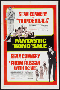 "Thunderball/From Russia with Love Combo (United Artists, R-1968). One Sheet (27"" X 41""). James Bond"