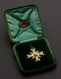 Estate Jewelry:Brooches - Pins, English Very Fine 15k Gold Cross Pin With Diamonds & Opals,Original Box. ...