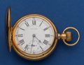 Timepieces:Pocket (post 1900), Waltham 14k Gold 18 Size 23 Jewel Model 92 Vanguard With UnusualDial. ...