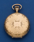 Timepieces:Pocket (post 1900), Waltham 14k Gold Fancy 16 Size Hunter's Case Pocket Watch. ...