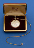 Timepieces:Pocket (post 1900), Elgin Gold Filled 17 Jewel Deluxe Pocket Watch With Chain &Box. ...