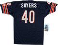 Football Collectibles:Uniforms, Gale Sayers Signed Topps Super and Jersey Lot of 2....