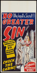 "Movie Posters:Exploitation, No Greater Sin (Alexander International Film, 1941). Three Sheet(41"" X 81"") Soldier Style. Exploitation.. ..."