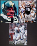 Football Collectibles:Photos, Football Greats Signed Oversized Photographs Lot of 3....